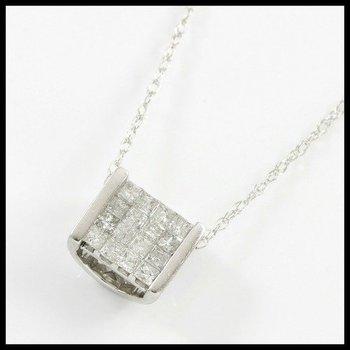 Solid 14k White Gold, 0.35ctw Genuine H-SI Diamonds Necklace