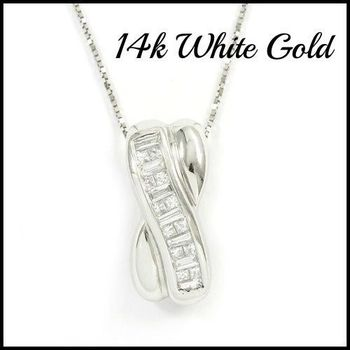 Solid 14k White Gold, 0.38ctw Genuine Diamond Necklace