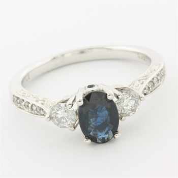 Solid 14k White Gold, 0.40ctw Genuine Diamond & 1.10ctw Genuine Sapphire Ring Size 6.5