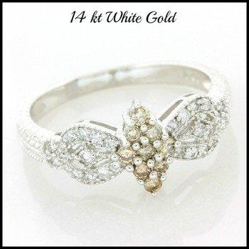 Solid 14k White Gold, 0.40ctw Genuine Diamond Ring sz 8