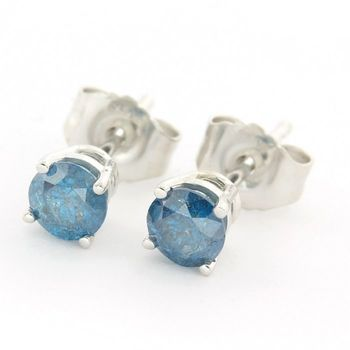 Solid 14k White Gold, 0.50ctw Genuine Blue Diamond Stud Earrings