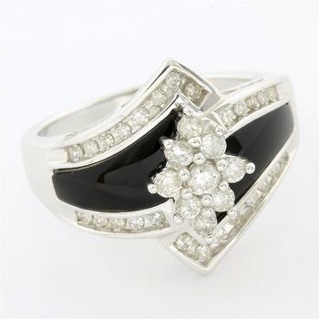 Solid 14k White Gold, 0.50ctw Genuine Diamond & Black Onyx Ring Size 7