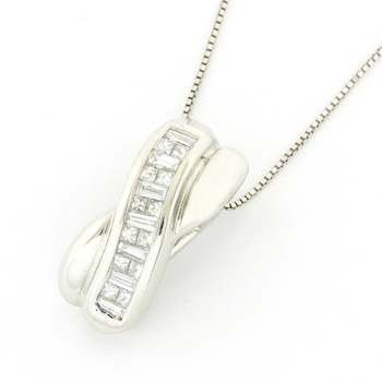 Solid 14k White Gold, 0.50ctw Genuine Diamond Necklace