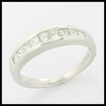 Solid 14k White Gold, 0.50ctw Genuine H/SI Diamonds Band Ring size 6