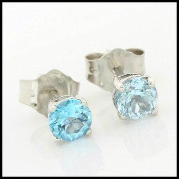 Solid 14k White Gold, 0.60ctw Genuine Blue Topaz Stud Earrings