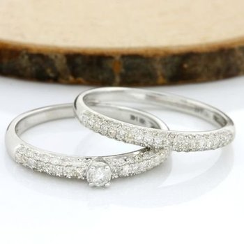 Solid 14k White Gold, 0.75ctw Genuine H-I/SI2-I1 Diamond Set of Two Rings sz 7