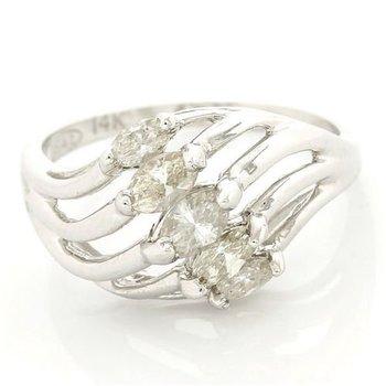 Solid 14k White Gold, 0.75ctw Genuine I/SI Diamonds Ring size 6.5