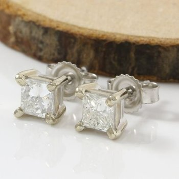 Solid 14k White Gold, 1.00ctw Genuine Diamonds Stud Earrings