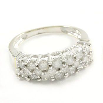 Solid 14k White Gold, 1.10ctw Genuine Diamond Ring Size 7