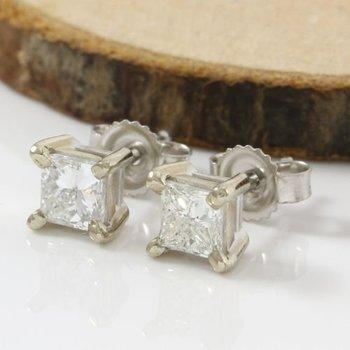 Solid 14k White Gold, 1.10ctw Genuine Diamonds Stud Earrings