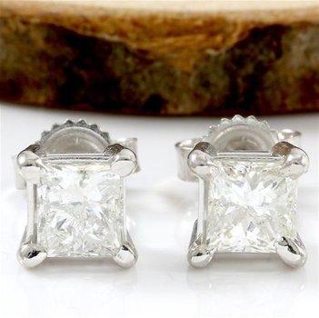 Solid 14k White Gold, 1.10ctw H-I/SI2-I1 Genuine Diamond Stud Earrings