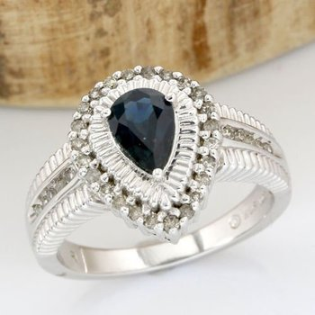 Solid 14k White Gold, 1.50ctw Genuine Diamonds & Sapphire Ring sz 7