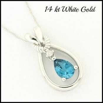 Solid 14k White Gold, 1.50ctw Genuine London Blue Topaz & 0.015ctw Genuine Diamond Necklace