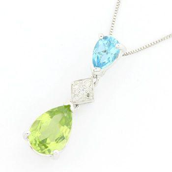 Solid 14k White Gold, 1.50ctw Genuine Peridot, 0.02ctw Genuine Diamond & 0.60ctw Genuine Blue Topaz Pendant Necklace