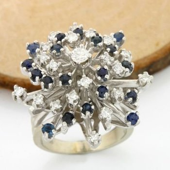 Solid 14k White Gold, 1.50ctw of Genuine Diamonds & Sapphire Ring size 5