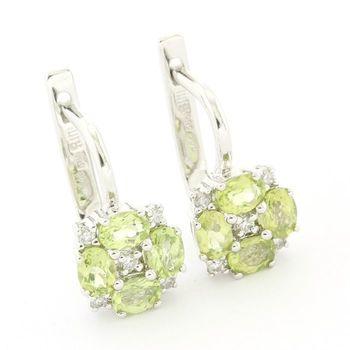 Solid 14k White Gold, 1.55ctw Genuine Peridot & 0.05ctw Genuine Diamond Earrings