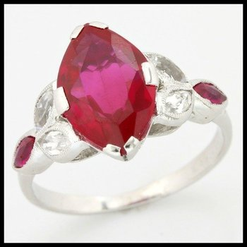 Solid 14k White Gold, 1.55ctw Ruby & White Sapphire Ring sz 6.5