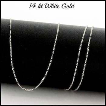 "Solid 14k White Gold, 18"" Inch Box Chain"