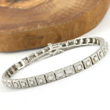 Solid 14k White Gold, 2.00ctw of Genuine Diamond Si1-I1 H-I Tennis Bracelet