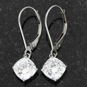 Solid 14k White Gold, 3.00ctw (AAA Grade) CZ's Leverback Earrings