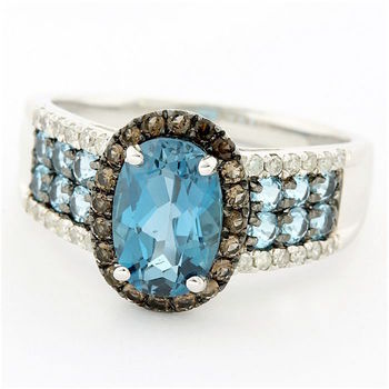 Solid 14k White Gold, 3.15ctw Genuine London Blue Topaz, 0.14ctw Genuine Diamond & 0.16ctw Genuine Smoky Topaz Ring size 7