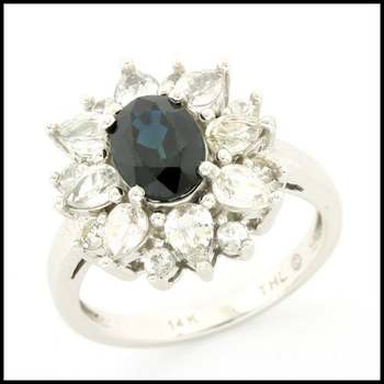 Solid 14k White Gold, 3.75ctw Genuine Blue & White Sapphire Ring size 7