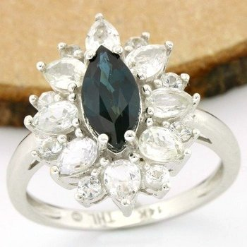 Solid 14k White Gold, 4.25ctw Genuine Blue & White Sapphire Ring size 7