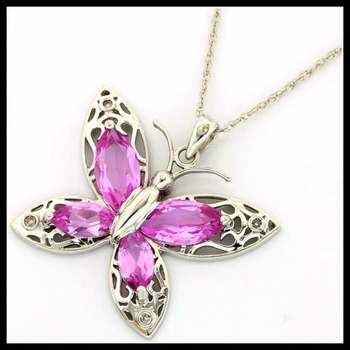 Solid 14k White Gold, 5.50ctw Genuine Pink & White Topaz Butterfly Necklace