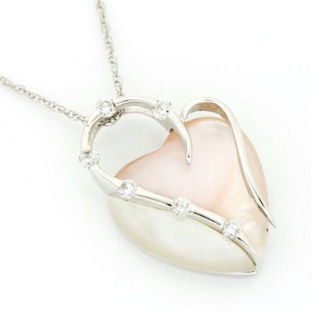 Solid 14k White Gold, 5.85ctw Heart Cut Mother of Pearl & 0.14ctw Round Brilliant Cut Diamond Pendant Necklace