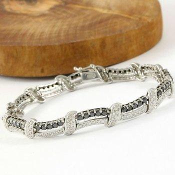 Solid 14k White Gold, 6.50ctw H-I/SI1-SI2 & Black Diamonds Tennis Bracelet