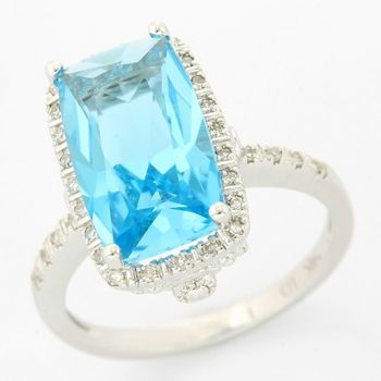Solid 14k White Gold, 6.75ctw Genuine Blue Topaz & 0.14ctw Genuine Diamond Ring size 7