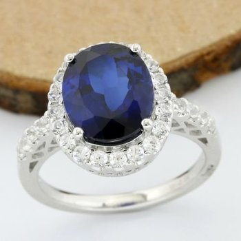 Solid 14k White Gold, 7.50ctw White & Blue Sapphire Ring sz 7