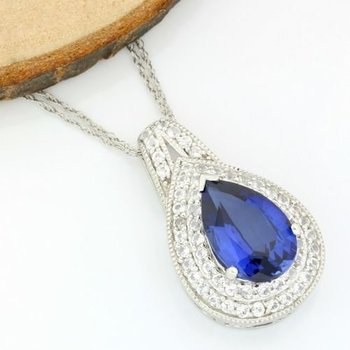 Solid 14k White Gold, 7.75ctw Sapphire & White Topaz Necklace