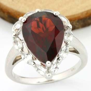 Solid 14k White Gold, 8.50ctw Genuine Garnet & 1.50ctw Genuine White Sapphire Ring sz 7