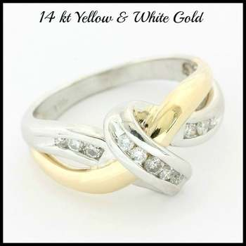 Solid 14k White&Yellow Gold, 0.20ctw Genuine Diamond Ring Size 6