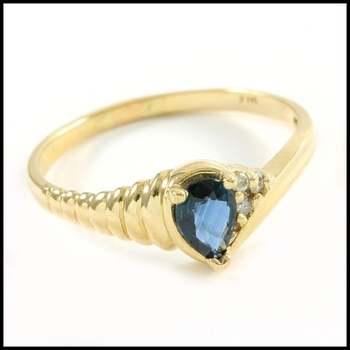 Solid 14k Yellow Gold, 0.015ctw Genuine Diamond & 0.75ctw Sapphire Ring Sz 7