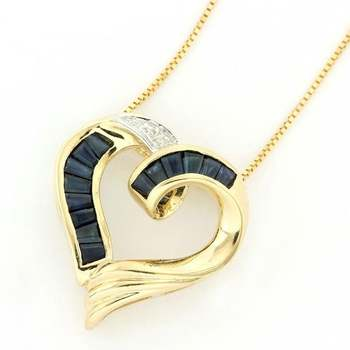 Solid 14k Yellow Gold, 0.01ctw Genuine Diamond & 0.75ctw Sapphire Necklace with Heart Shape Pendant