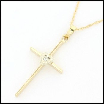Solid 14k Yellow Gold, 0.01ctw Genuine Diamond Cross Necklace