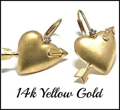 Solid 14k Yellow Gold, 0.02ctw Genuine Diamond Earrings