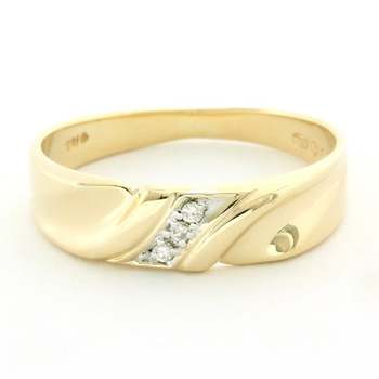 Solid 14k Yellow Gold, 0.02ctw Genuine Diamond Ring Size 9