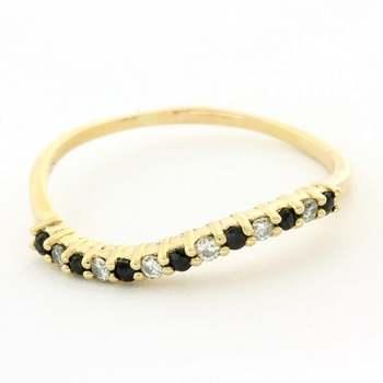 Solid 14k Yellow Gold, 0.03ctw Genuine Diamond & 0.04ctw Sapphire Ring Size 7.5
