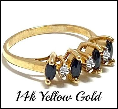 Solid 14k Yellow Gold, 0.03ctw Genuine Diamond & 0.40ctw Sapphire Ring Size 6