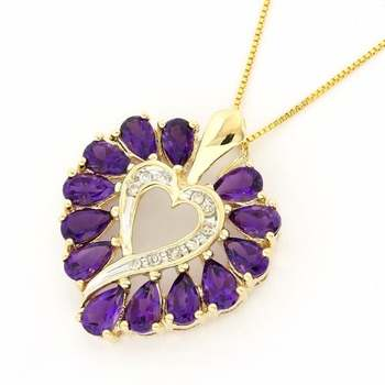 Solid 14k Yellow Gold, 0.07ctw Genuine Diamond & 3.0ctw Amethyst Necklace with Heart Shape Pendant