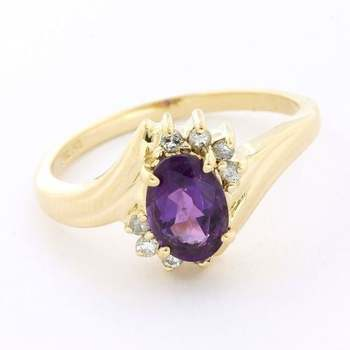 Solid 14k Yellow Gold, 0.08ctw Genuine Diamond & 1.00ctw Amethyst Ring Size 6.25