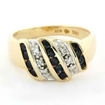 Solid 14k Yellow Gold, 0.10ctw Genuine Diamond & 0.30ctw Sapphire Ring Size 7
