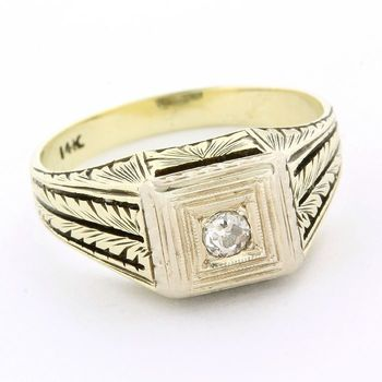 Solid 14k Yellow Gold, 0.10ctw Genuine Diamond Antique Ring Size 8.5