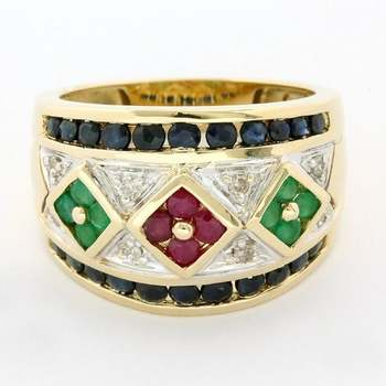 Solid 14k Yellow Gold, 0.10ctw Genuine Diamond & Emerald & Sapphire & Ruby Ring Size 7
