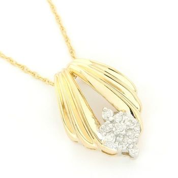 Solid 14k Yellow Gold, 0.10ctw Genuine Diamond Necklace