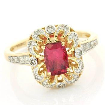 Solid 14k Yellow Gold, 0.12ctw Genuine Diamond & 0.90ctw Tourmaline Ring Size 8