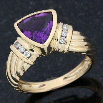 Solid 14k Yellow Gold, 0.12ctw Genuine Diamond &  3.50ctw Genuine Amethyst Ring Size 7